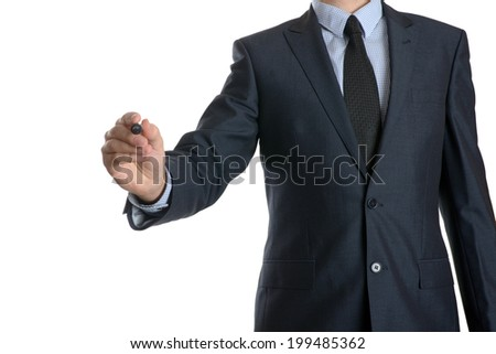 Young businessman writing something on white background  - stock photo