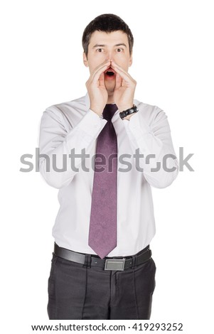 young businessman yelling with open hands. emotions, facial expressions, feelings, body language, signs. image on a white studio background. - stock photo
