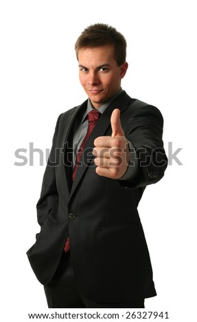 Young Businessmen making his thumb up saying OK isolated on white. Face in focus