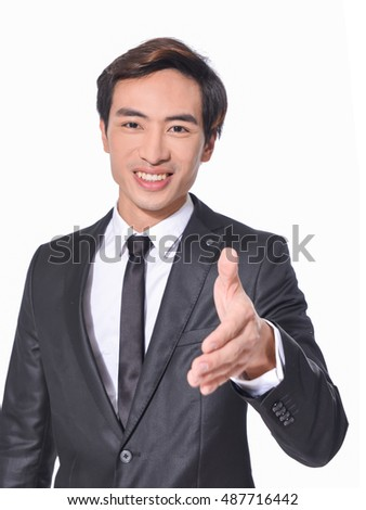 Young businessmen shaking hands on white background