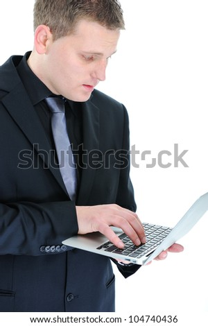 Young businessmen with laptop isolated on white