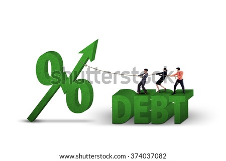 Young businesspeople pull percentage symbol with upward arrow and debt word, isolated on white background - stock photo