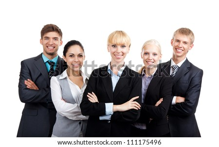young businesspeople standing together smile, Business people group team, Isolated over white background - stock photo