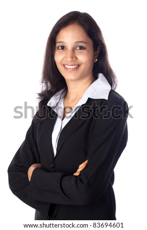 Young businesswoman against white