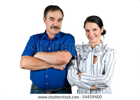 Young businesswoman and senior businessman standing together with hands crossed and smiling isolated on white background
