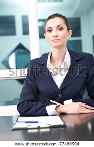 young businesswoman as boss, seriously face - stock photo