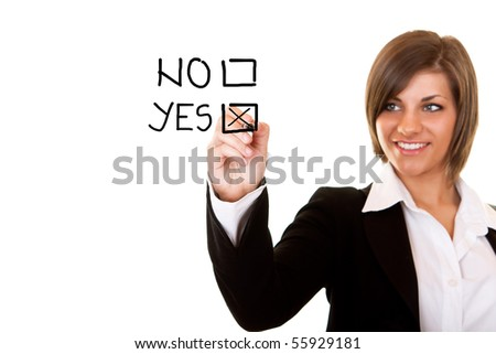 young businesswoman decide for positive decision - stock photo