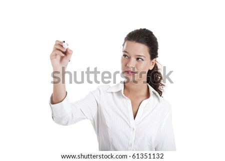 Young businesswoman drawing something, copyspace for the designer