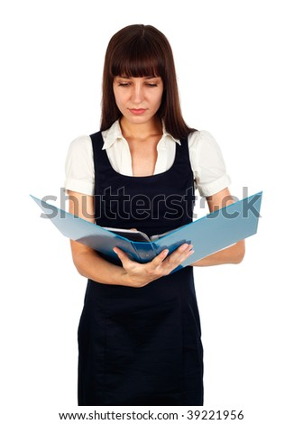 young businesswoman going through paper work  studio isolated on white - stock photo