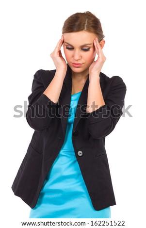Young businesswoman having headache. Three quarter length studio shot isolated on white. - stock photo