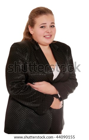 young businesswoman having stomachache - stock photo