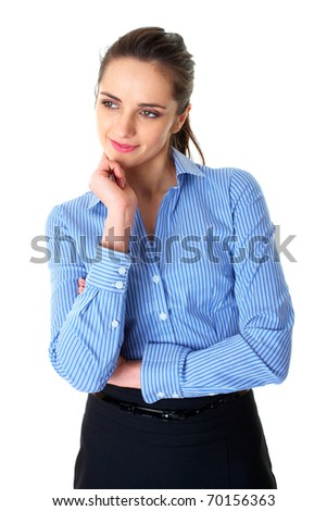 young businesswoman hold her finger at her chin, hard decision, isolated on white - stock photo