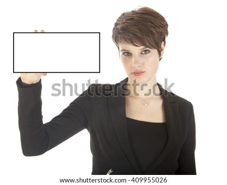 Young businesswoman holding blank card isolated on white background - stock photo