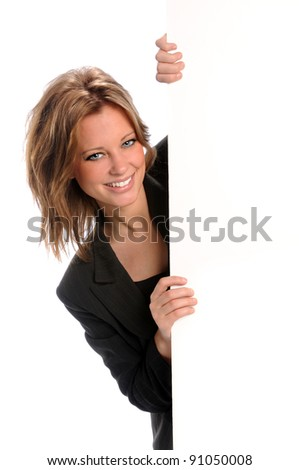 Young businesswoman holding blank sign isolated over white background - stock photo