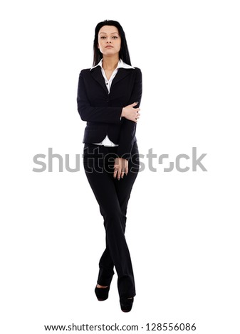 Young businesswoman in full length pose isolated on white background. Business concept