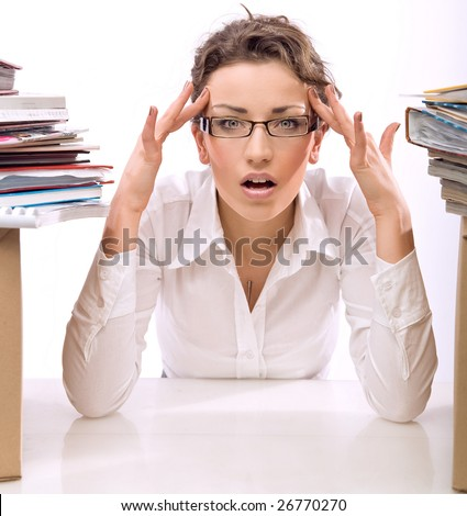 Young businesswoman in stress - stock photo