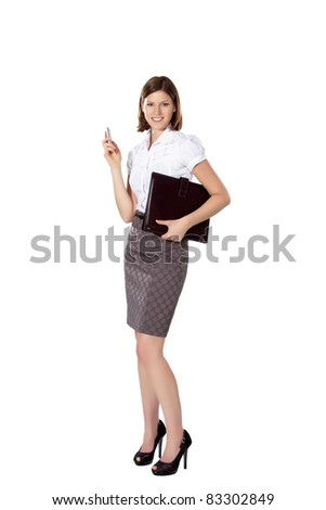 Young businesswoman isolated on a white background smiling and holding cell phone and a leather folder - stock photo