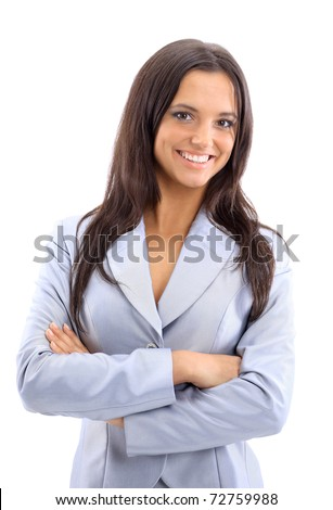 Young businesswoman, isolated on white - stock photo