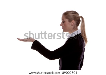 Young businesswoman on a white background with her open hand in front and palm up. Businesswoman.