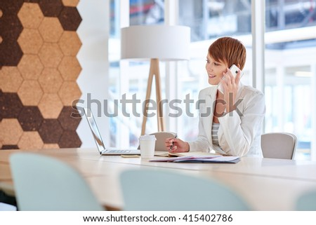 Young businesswoman on phone at her desk in modern office - stock photo
