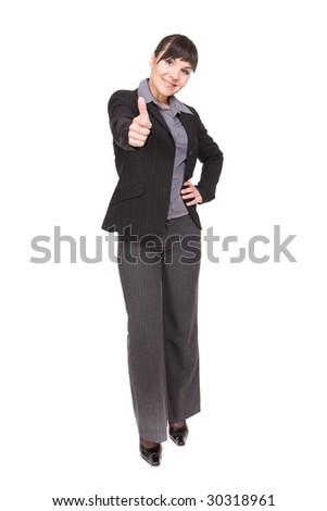 young businesswoman over white background