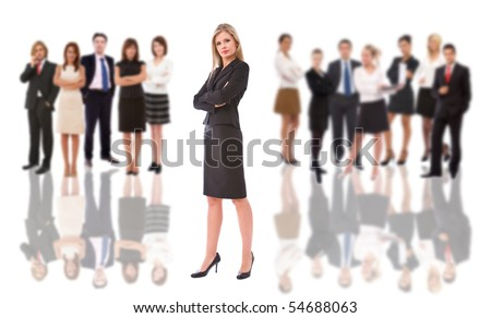 young businesswoman portrait with lots of business people