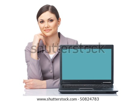Young businesswoman presenting at the laptop over white - stock photo