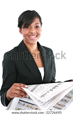 Young Businesswoman Reading Newspaper on Isolated White Background - stock photo