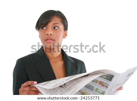 Young Businesswoman Reading Newspaper on Isolated White Background