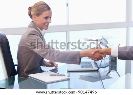Young businesswoman receiving a customer in her office - stock photo