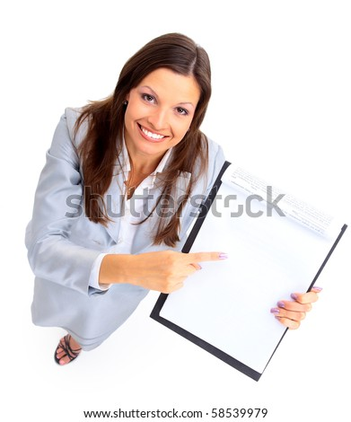 young businesswoman showing contract and where to sign - stock photo