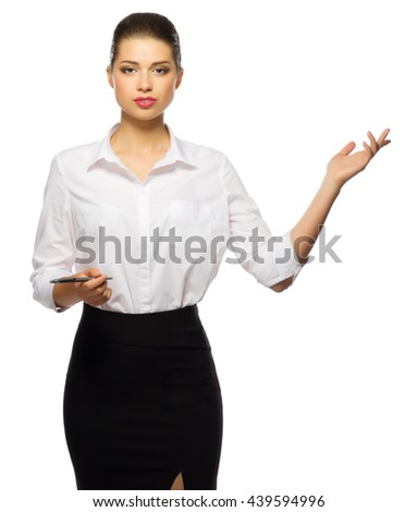 Young businesswoman shows welcome gesture isolated - stock photo