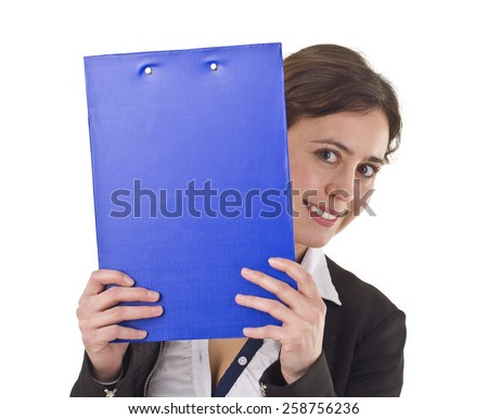 Young Businesswoman Smiling Portrait With Documents. - stock photo