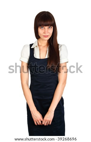 young businesswoman staning studio shot on white - stock photo