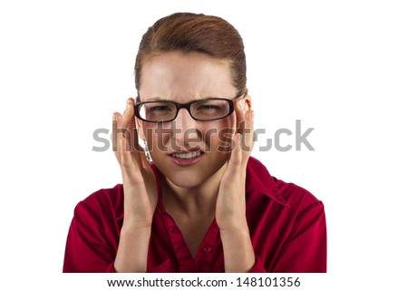 young businesswoman suffering from eyestrain - stock photo