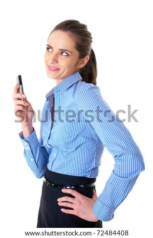 young businesswoman talks over her mobile phone, isolated on white - stock photo