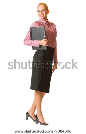 Young businesswoman, teacher or student with laptop, isolated - stock photo