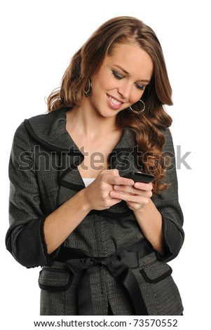 Young Businesswoman text messaging on the cell phone isolated on a white background