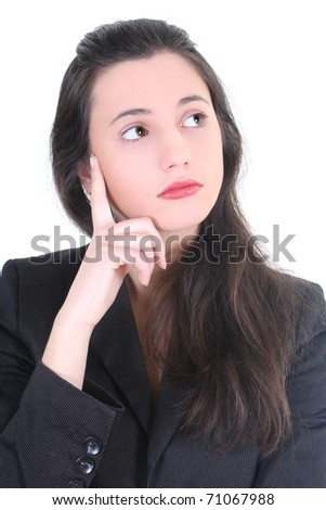 young businesswoman thinking about future over white - stock photo