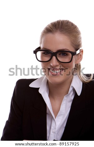 Young businesswoman wearing black framed glasses on a white background. Young businesswoman.
