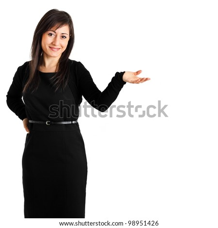 Young businesswoman welcoming you isolated on white
