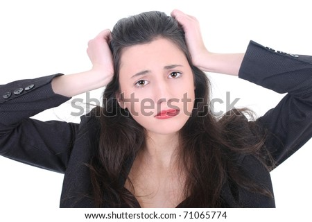 Young businesswoman with a headache over white - stock photo