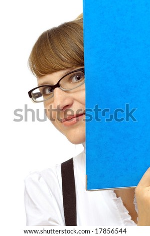 Young businesswoman with folder, isolated on white - stock photo