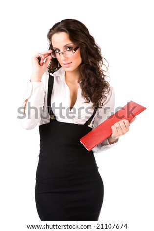 Young businesswoman with folder. Isolated on white.