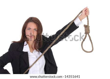 young businesswoman with gallows on white background