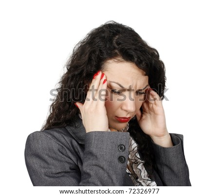 Young businesswoman with headache isolated on white background - stock photo
