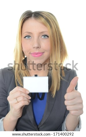 Young businesswoman with identification card isolated