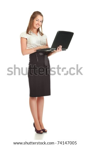 young businesswoman with laptop, isolated on white - stock photo
