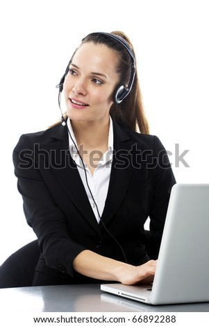 young businesswoman with laptop microphone and headset on white background