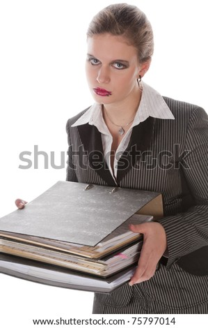 Young businesswoman with lip piercing in a gray business suit and high heels young woman with a stack of files, folders, isolated on a white  background - stock photo